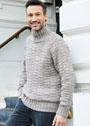 Серый мужской свитер со структурным узором. Спицы