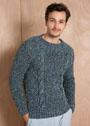 Мужской меланжевый пуловер с косами. Спицы