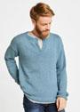 Мужской пуловер с разрезом у горловины. Спицы