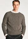 Мужской пуловер с узорами из кос. Спицы