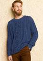 Мужской синий пуловер с косами. Спицы