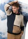 Мужской пуловер в технике интарсии. Спицы