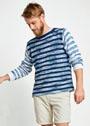 Мужской легкий пуловер в полоску. Спицы
