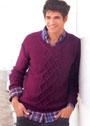 Мужской бордовый пуловер с арановым узором. Спицы