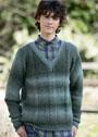 Мужской пуловер с замысловатым плетеным узором. Спицы