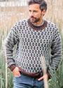 Мужской теплый пуловер с узором из кос в полоску. Спицы