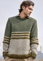 Мужской пуловер с жемчужным узором и центральными полосами. Спицы