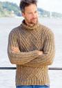 Мужской шерстяной свитер с арановым узором. Спицы