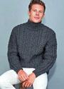 Мужской теплый свитер с косами. Спицы