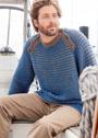 Двухцветный мужской пуловер с рельефными полосами. Спицы