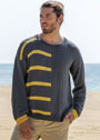 Мужской серый пуловер с желтыми полосами. Спицы