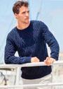 Темно-синий мужской пуловер с арановыми ромбами. Спицы