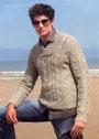 Мужской арановый пуловер с шалевым воротником. Спицы