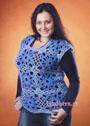 Голубая безрукавка из квадратов, для пышной дамы. Крючок