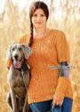 Оранжевый узорчатый пуловер и нарукавники, для пышной дамы. Спицы