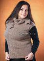Мода PLUS. Теплая безрукавка кофейного цвета и шарф. Спицы