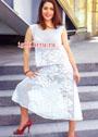 Мода PLUS. Белый филейный костюм с розами: топ и юбка-шестиклинка. Крючок