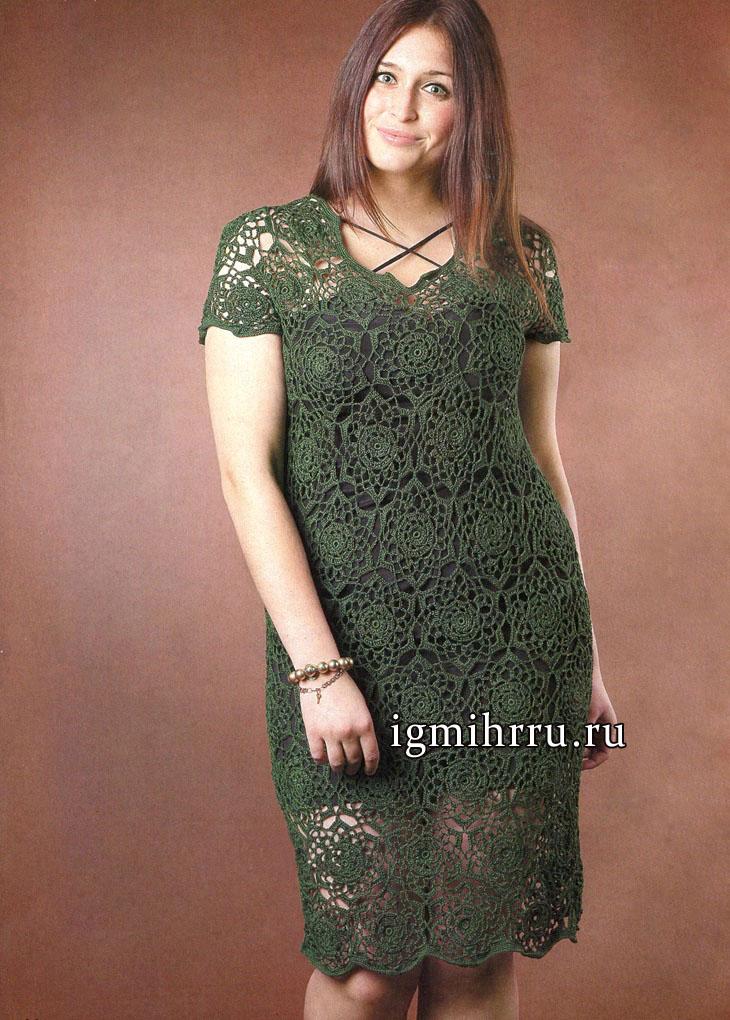 Темно-зеленое платье из шестиугольных мотивов, для пышной дамы. Вязание крючком
