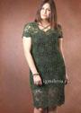 Темно-зеленое платье из шестиугольных мотивов, для пышной дамы. Крючок
