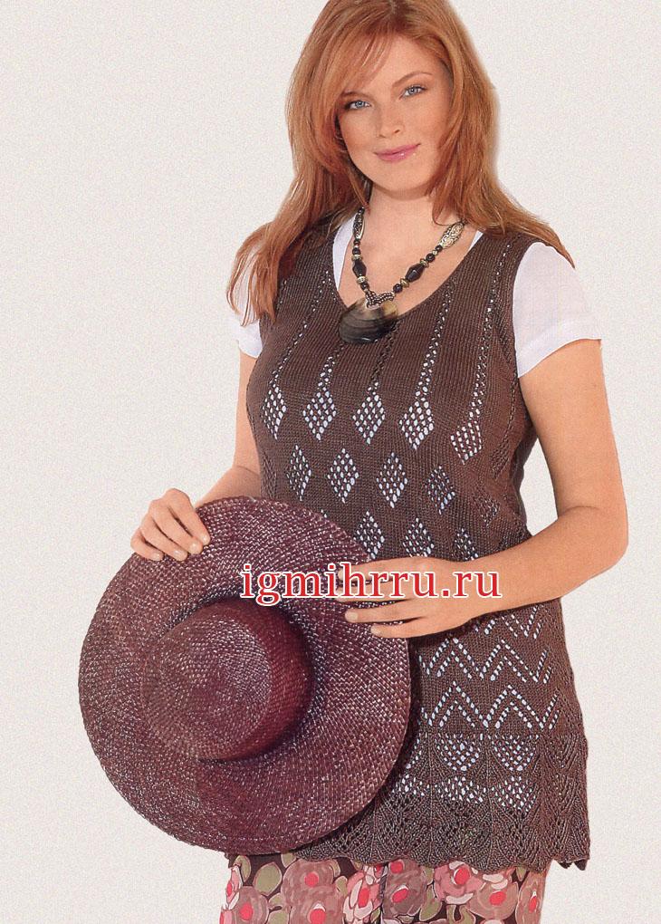Мода PLUS. Туника с ажурными узорами из ромбов. Вязание спицами