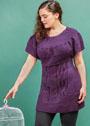 Большие размеры. Фиолетовая туника с широкой кокеткой и крупными косами. Спицы