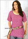 Микс красивых узоров. Длинный розовый пуловер для дамы приятной округлости. Спицы