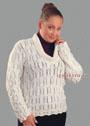 Мода Plus. Белый ажурный пуловер. Спицы
