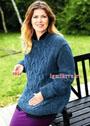 Для пышной дамы. Теплый темно-синий пуловер с широкими вертикальными косами. Спицы