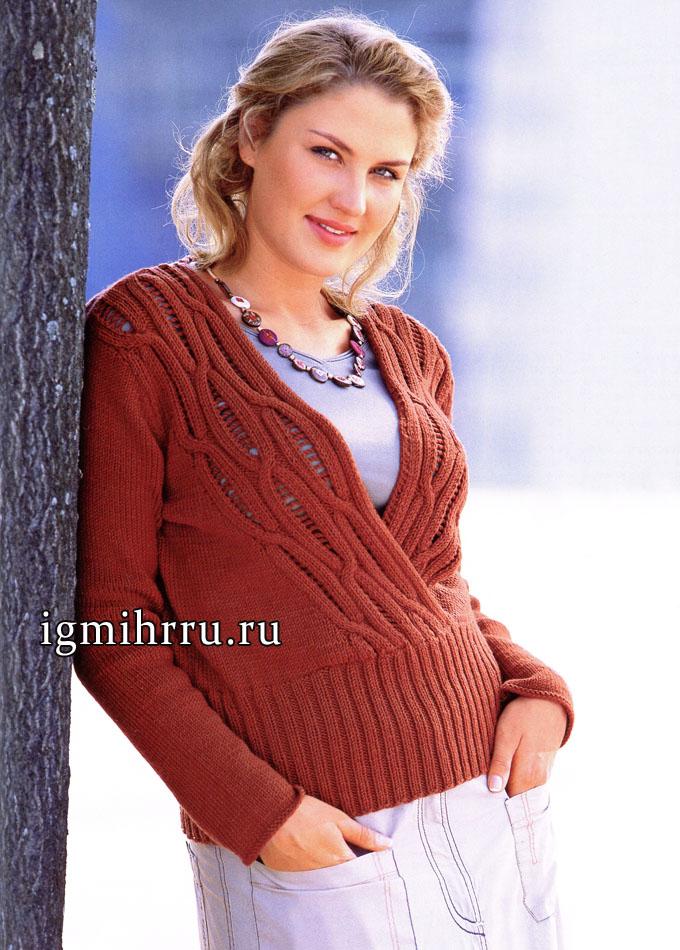 Мода PLUS. Красно-коричневый пуловер с V-образным вырезом горловины. Вязание спицами