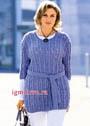 Элегантный образ. Классический удлиненный пуловер с ажурными дорожками и косами, для пышной дамы. Спицы