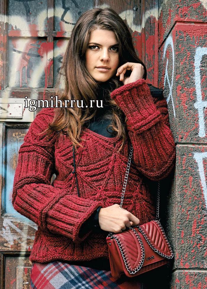 Для пышной дамы. Темно-красный пуловер со структурным узором, от немецких дизайнеров. Вязание спицами