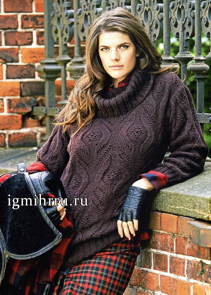 Мода PLUS для осени. Бордовый пуловер из шерсти альпака, с ажурными ромбами, от немецких дизайнеров. Вязание спицами