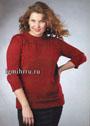 Мода PLUS. Бордовый пуловер с ажурной кокеткой. Спицы
