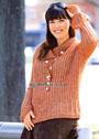Пуловер цвета ржавчины с большим воротником, для пышной дамы. Спицы