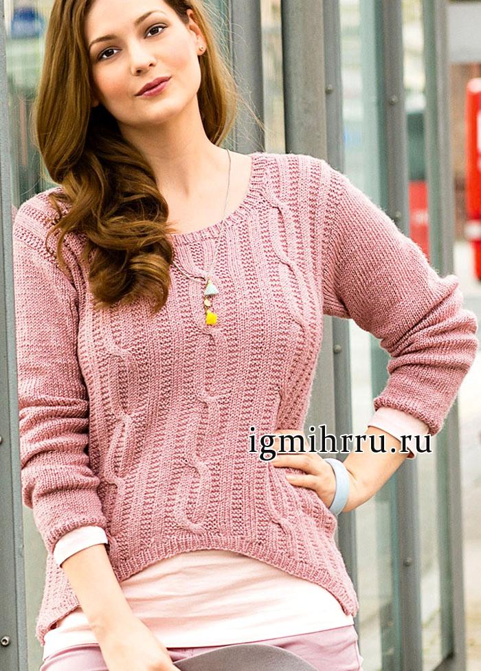 Для пышных дам. Розовый пуловер с закругленным передом. Вязание спицами