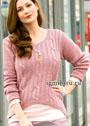 Для пышных дам. Розовый пуловер с закругленным передом. Спицы