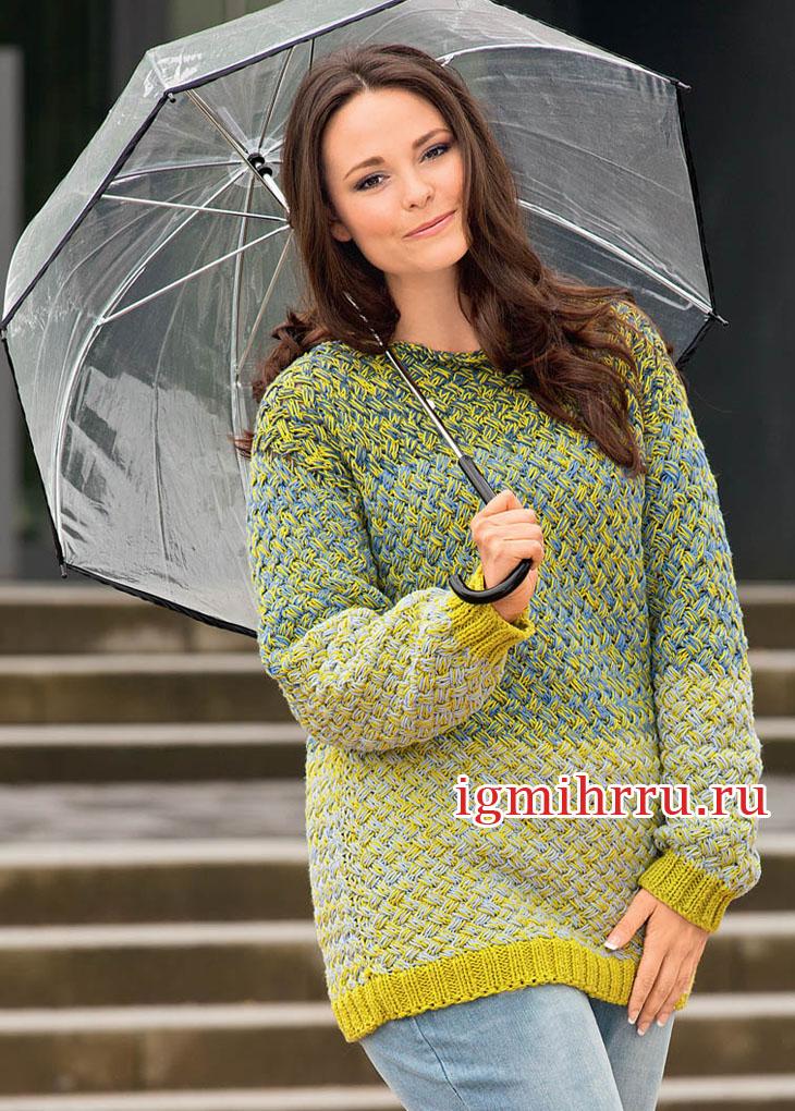 Для полных дам. Теплый пуловер с плетеным узором. Вязание спицами