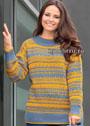 Для полных дам. Двухцветный пуловер с вытянутыми петлями. Спицы