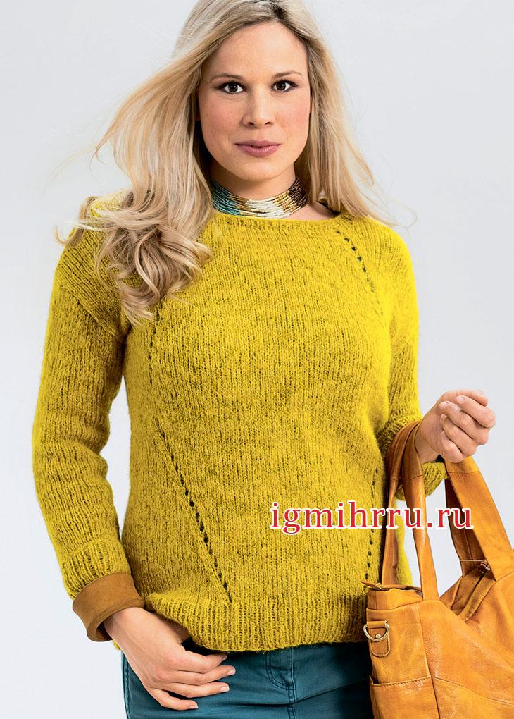 Большие размеры. Янтарный пуловер с узором ромбы. Вязание спицами