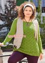 Для пышных дам. Ажурный зеленый пуловер. Спицы