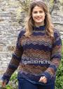 Большие размеры. Ажурный пуловер в разноцветную полоску. Спицы