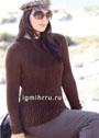 Большие размеры. Темно-коричневый пуловер с мелкими косами. Спицы