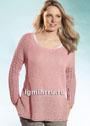 Для полных дам. Розовый пуловер с ажурными рукавами. Спицы