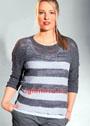 Большие размеры. Пуловер в крупную полоску в серых тонах. Спицы