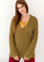 Для пышных дам. Оливковый пуловер с узором из снятых петель. Спицы