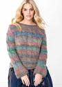 Для полных дам. Пуловер из пряжи с эффектом деграде и косами. Спицы