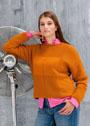 Большие размеры. Оранжево-коричневый пуловер простой вязки. Спицы