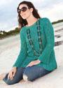 Мода размера PLUS. Сине-зеленый ажурный пуловер. Спицы