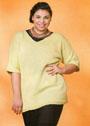 Для пышных дам. Хлопковый пуловер цвета лайма. Спицы