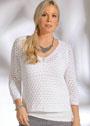 Для полных дам. Белый летний пуловер со сквозным узором. Спицы